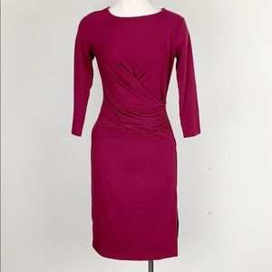 NWT Ann Taylor Fuchsia Midi Faux Wrap Dress
